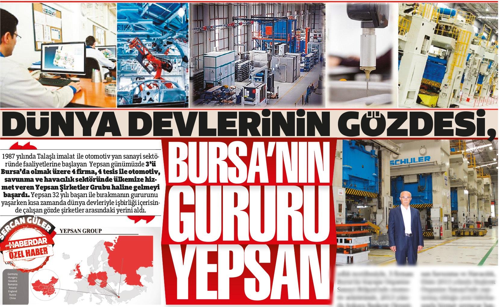 Dünya devlerinin gözdesi, Bursa'nın gururu YEPSAN